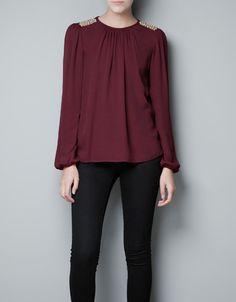 TOP  APLIQUE HOMBRO - Camisas - Mujer - ZARA