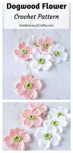 This Dogwood Flowers Free Crochet Pattern can be customized to make a variety of flowers for home decor, headbands, or even accents for other crocheted pieces. Crochet Flower Tutorial, Crochet Flower Patterns, Crochet Motif, Crochet Flowers, Knitting Patterns, Free Crochet Rose Pattern, Doilies Crochet, Doily Patterns, Free Pattern