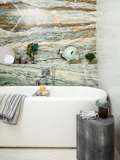 colorful green marble in the bathroom