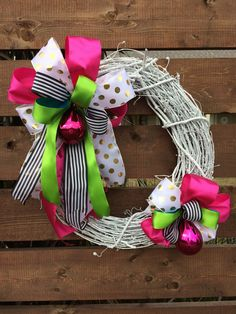 Holiday wreath ~ bows & bright colors by AnnesAdoorables on Etsy