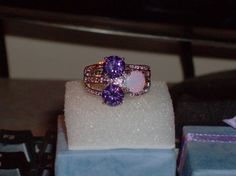 LOOK!!!!! A GORGEOUS STERLING SILVER AMETHSYT AND WHITE FIRE OPAL WITH TOPAZ ACCENTS SIZE 8