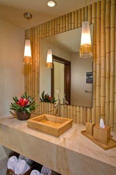 Decoração de banheiro com bambu...