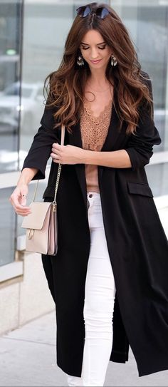 Black Coat / Brown Lace Top / White Skinny Jeans