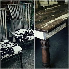 Vintage Industrial Iron Chairs with Faux Cowhide and Handmade Farmhouse Table designed by Rusty NChippy's VB.
