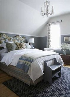 Note paint treatment of slanted wall!  Guest Bedroom Decorating Ideas, Luxurious Staging Bedroom Designs