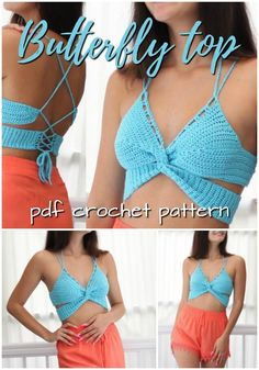 Super simple and sexy strappy butterfly top crochet pattern! Love this sexy summer beach top! So easy to make, Great pattern for beginners! Check out these 10 incredible crochet patterns, perfect to make this summer! Crochet Summer Tops, Crochet Crop Top, Easy Crochet, Diy Crochet Top, Crochet Summer Dresses, Crochet Halter Tops, Crochet Pattern Free, Crochet Patterns, Crochet Shorts Pattern