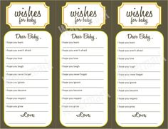 Wishes for Baby - Baby Shower Activity (Printable). $10.00, via Etsy.