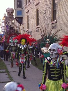 During the day there are festivals, and at night the go to the grave yards where the deceased are.
