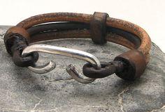 Pulsera cuero marrón y natural multi correa brazalete pulsera de cuero EXPRESS…
