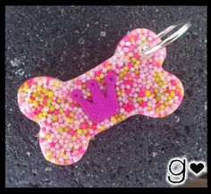 Pink Crown Bone Dog Tag  Sprinkles Hearts  by GabriellesCreations #kawaii #cute #princess #dog #id #pink