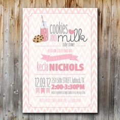 Cookies and Milk Baby Shower Invitation, Printable, Digital File, Baby Girl, Chevron, Pink, 5x7