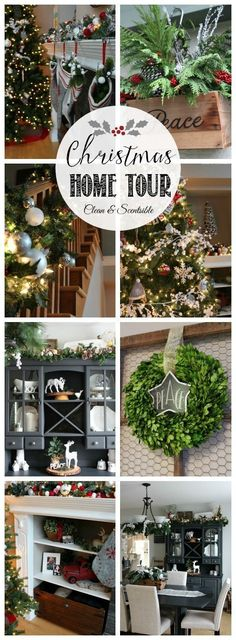 Beautiful Christmas home tour with lots of great decorating ideas! // http://cleanandscentsible.com