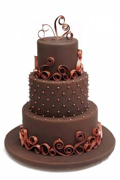 Pretty Chocolate Wedding cake - For all your cake decorating supplies, please visit craftcompany.co.uk