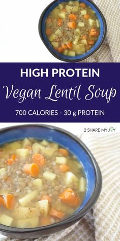 Healthy Easy Lentil Soup (vegan, oil free, gluten free) - 2SHAREMYJOY Clean Eating Meal Plan, Clean Eating Recipes, Healthy Dinner Recipes, Vegetarian Recipes, Healthy Breakfasts, Eating Healthy, Healthy Drinks, Lunch Recipes, Diet Recipes