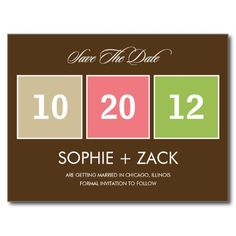 Boxed Calendar Save The Date Postcard (Brown)