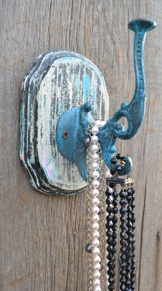 hook on wall plaque jewelry holder cast iron hook on wood wall hanging coat hook wood plaque Diy Wall Hooks, Cast Iron, It Cast, Wood Plaques, Jewelry Holder, Painting On Wood, Wood Wall, Shabby Chic, Barn
