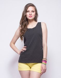 FabAlley Check On It Tank : There's no over doing of the classics in any closet and this awesome black crepe number features a chic slim white check print all over. Regular fit.  Work It - Ace day time cool wearing yours with color pop skinnies and a cool crossbody bag.