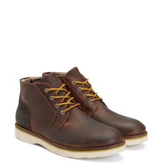 """Our Huck Desert Boot, in soft cow leather, is a city take on a classic outdoor boot. Features a lace-up front, a cozy felt lining to shield you feet from the cold, an embossed GANT logo along the upper and a sturdy rubber outsole. (Style side note: """"Desert"""" boots were first worn by British officers in World War II, only to be adapted later into everyday, wearable ones.)"""