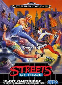 "Box art of ""Streets of Rage,"" a beat-'em-up for the Sega Mega Drive released in 1991"