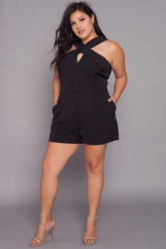Plus Size Cross Front Romper | Black