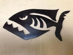 Scary Piranha Fish CNC Plasma cut from mild steel. Would make a great stencil as shown. I can create any custom designs or even cut out your own. Metal Fish, Wooden Fish, Wooden Wall Art, Wood Art, Cnc Plasma, Plasma Cutting, Stencil Art, Stencils, Plasma Cutter Art