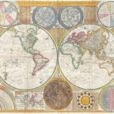World Map Century. Very detailed map of the world in a double hemisphere projection with map of the moon, the solar system and star charts created by the British mathematician and amateur astronomer Samuel Dunn dating to Antique Maps, Vintage World Maps, Vintage World Map Poster, Map Wallpaper, Star Chart, Wall Maps, World Religions, Evernote, Historical Maps
