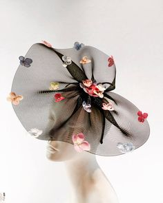 Easter Bonnet- Petal Fascinator- Hydrangea Flower Headband- Wedding- Kentucky Derby- Spring Headband- Bridal- Day at the Races- Polo Match Hello, This horse hair netting/fascinator has a 8 inch diameter....flower petals are placed on the edge. (Its not really horse hair but in the 1800s