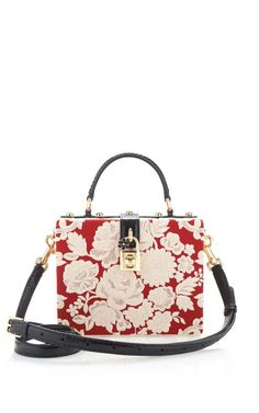 Rosso And Ecru Embroidered Cady Box Bag by Dolce & Gabbana for Preorder on Moda Operandi