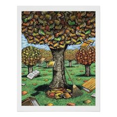 Book Tree Poster Fall Reading Harvest Illustration Book Lover Poster