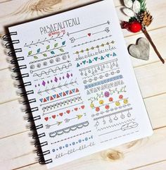 Border ideas for your Bullet Journal Bullet Journal Mise En Page, Bullet Journal Headers, Bullet Journal Banner, Bullet Journal 2019, Bullet Journal Notebook, Bullet Journal Ideas Pages, Bullet Journal Inspiration, Bullet Journal Dividers, Borders Bullet Journal