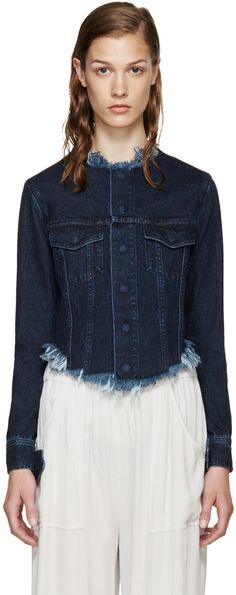 Marques Almeida - Indigo Denim Collarless Jacket