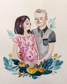💑❤💙💚💛💜🖤 . . . . . . . . . . #lowcostunicorns #watercolours #watercolourportrait #customportrait #pregnancyportrait #illustration #illustratorsofinstagram #romanianillustrator