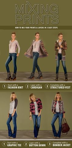 How to mix and layer prints: Knits, cardigans, vests, graphic tees, button downs, jackets | Buckle