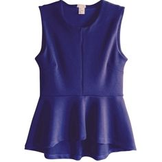 Pre-owned H&M Peplum Top Navy Blue ($89) ❤ liked on Polyvore