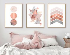 Trending Now Art Printable Art Set of 3 Prints Print Set | Trending Now Art, Printable Art, Set of 3 Prints, Print Set, Copper, Rose Gold, Blush Pink, DIY Art, Triptych, Scandinavian Prints, Wall Art by @UrbanEpiphanyPrints
