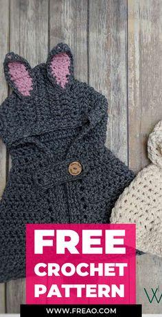 crochet Bunny Poncho free pattern - easy crochet Poncho free pattern - All about Crochet - Crochet Toddler, Crochet Girls, Crochet Baby Clothes, Crochet Bunny, Crochet For Kids, Crochet Crafts, Crochet Yarn, Easy Crochet, Crochet Stitches