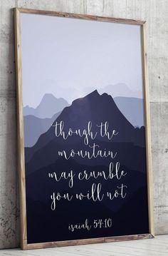 Printable verses Isaiah 54:10 Scripture Art by TwoBrushesDesigns