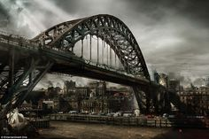 Grim up north: The artist's rendering of Newcastle in a dystopian future has the Tyne Brid...