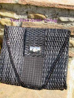 Borsa in pelle nera lavorata su rete  regalo per lei donna