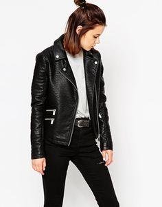 ASOS Textured Biker Jacket With Zip Detail