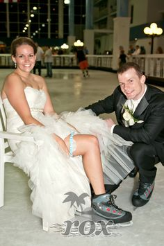Bride on Wedding Skates shows Garter at the Carousel Hotel Ice Rink in Ocean City Maryland by Rox Beach Weddings:  http://roxbeach.com/