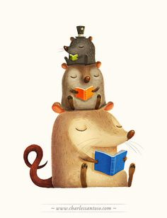 art, illustration, animal, mouse, rodent, opossum, book, //   Illustration Series, Kinokuniya Bookstore 2011