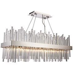 """Welcome a focal point to inspire any existing decor with this Dallas twenty-light island chandelier. 36"""" wide x 12"""" deep x 14"""" high. Canopy is 6"""" wide x 1"""" high. Weighs 62.3 lbs. Includes four 5-foot cables and 9 3/4-feet of wire. Sloped ceiling adaptable. Style # 39V02 at Lamps Plus."""