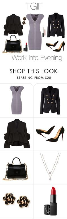 """#TGIF#workintoevening"" by zinka-kartinka ❤ liked on Polyvore featuring Marciano, Balmain, Rachel Comey, Christian Louboutin, Dolce&Gabbana, Chantecler, NARS Cosmetics and Burberry"