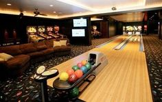 Must have.  This would be so neat to have in the basement.  Always something to do! #residential #bowling #alley