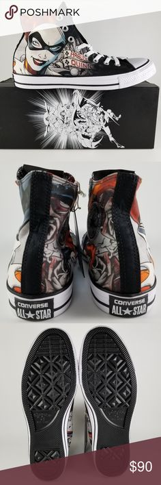 New Harley Quinn Converse All Star Chuck Taylors Harley Quinn Converse All Star Chuck Taylor Hi Sneakers Style: 155260C  BRAND NEW WITH BOX & TAG! Shoes have never been worn! Includes a pair of special Harley Quinn laces! Comes from a SMOKE-FREE home! Converse Shoes Sneakers