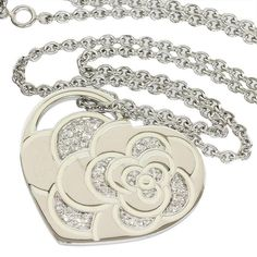 Size: about around the neckVertical Top Size: cm x cmMaterial: White Gold White Lacquer, Genuine DiamondsWeight: gCome With: C Chanel Camellia, Chanel Jewelry, Heart Pendant Necklace, White Gold Diamonds, Bracelets, Necklaces, Pendants, Silver, Women