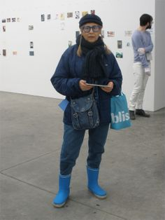 Artist Rossella BLUE Mocerino at Luhring Augustine Gallery in New York for Postcards for the Edge, the Visual Aids Benefit.  Jan.26, 2014.   #nycart  #womaninblue