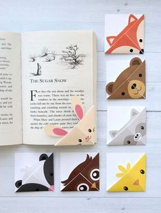 DIY woodland animals origami bookmarks {print + fold} - It's Always Autumn - - These woodland animal origami bookmarks are adorable! Make a DIY origami bookmark out of one piece of paper with 7 free printable origami templates. Bookmark Printing, Bookmark Template, Origami Templates, Origami Tutorial, Origami Instructions, Marque Page Origami, Diy For Kids, Crafts For Kids, Diy And Crafts