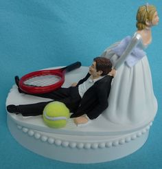 Wedding Cake Topper Tennis Player Ball Racquet Sports Groom Themed w/ Bridal Garter Bride Athlete Hobby Athletic Sporty Humorous Funny Top Tennis Cake, Tennis Party, Elegant Wedding Cakes, Elegant Cakes, Tennis Funny, Tennis Players, Wedding Cake Toppers, Wedding Planning, Wedding Ideas
